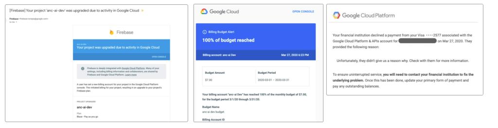 Google Cloud云平台计费界面